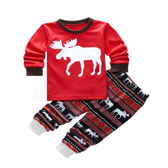HOT SALE Family Matching Christmas Pajamas Set Deer Sleepwear Nightwear Pajama Suit(Kids,2T)
