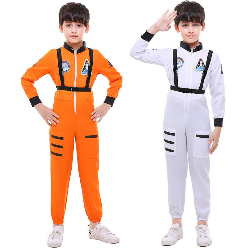 Kids Astronaut Space Suit White Orange Costume Toddler Child Costume Moon Theme Halloween