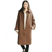 Thickening Loose Woolen Coat Autumn Women Turn Down Collar Long Casual Winter Coat Women Pur Dark