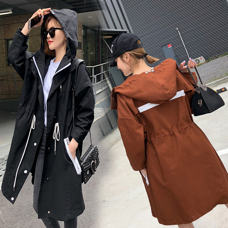 2018 Fashion Plus Size Women's Spring Autumn   Trench   Coats Casual Hooded Outerwear Female Adjustable Waist Slim Windbreaker A1464
