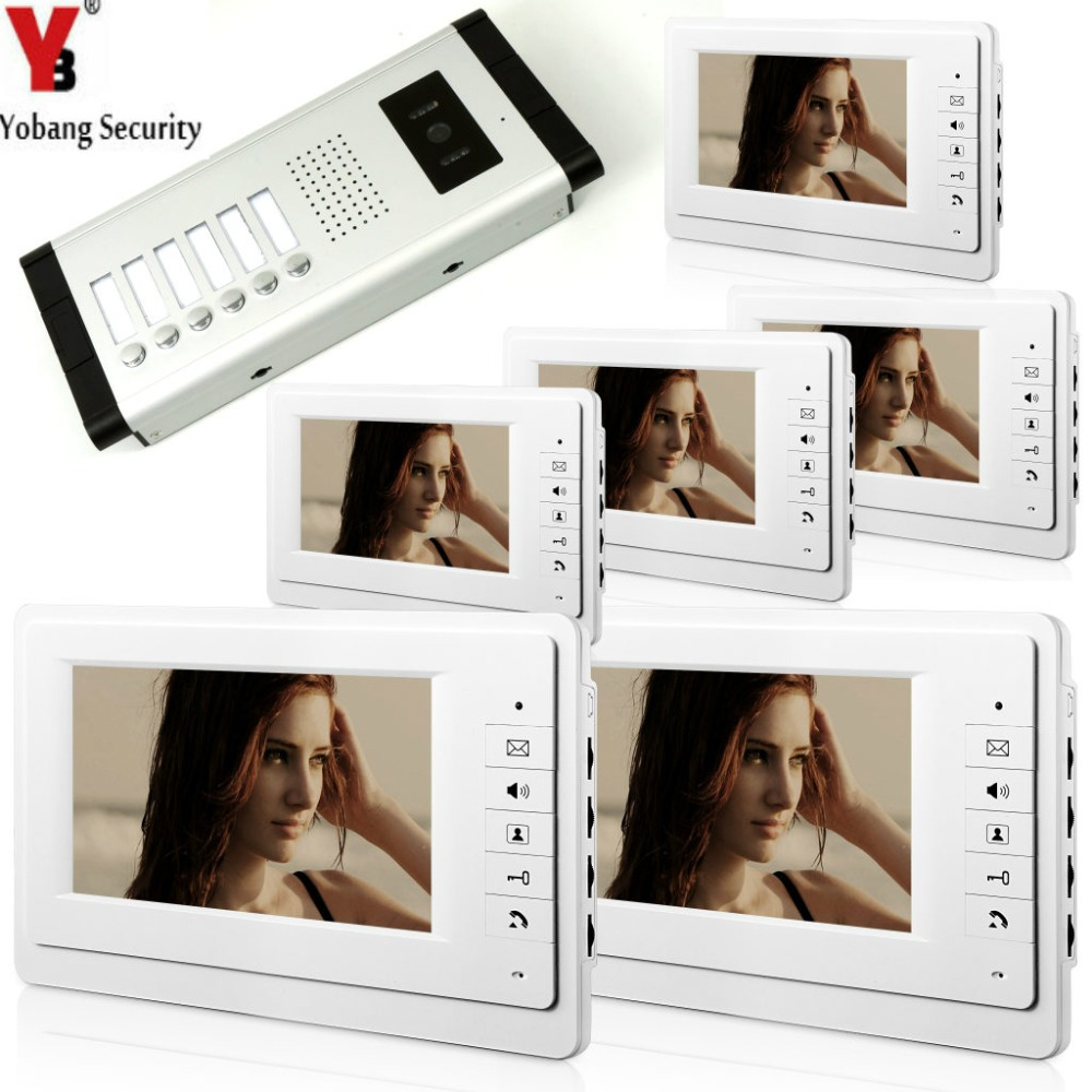 YobangSecurity 7 Inch Wired Video Door Phone Visual Intercom Doorbell with 6* Monitor+1*Camera For 6 Units Apartment Intercom
