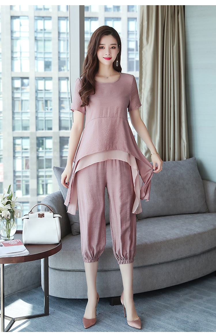 2019 Summer Linen Two Piece Sets Women Plus Size Short Sleeve Tops And Cropped Pants Suits Office Elegant Casual Women's Sets 64