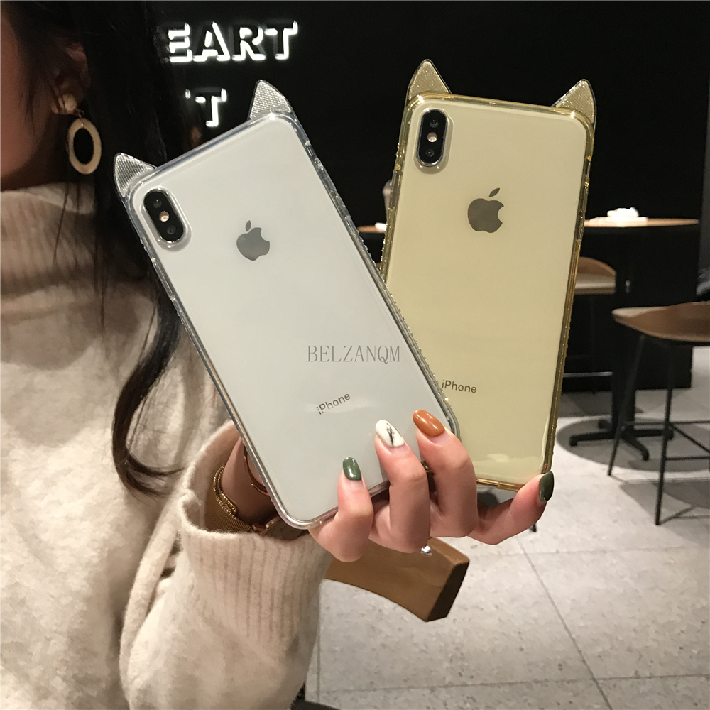 Phone Cases For iPhone 6 6s 7 8 Plus Luxury Bling Diamond Cute Cat Ears Clear Soft TPU Coque For iPhone X Xs Max XR Cover Fundas _05