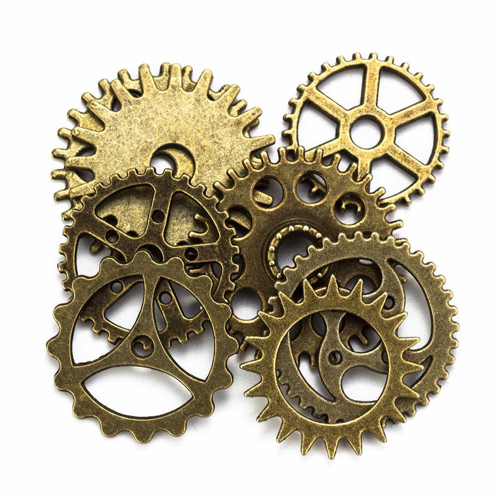 מזל עין 8 pcs לערבב הילוכים קסמי בציר Steampunk קסמי גלגל עתיק ברונזה אביזרי עבור תכשיטי ביצוע EY6096