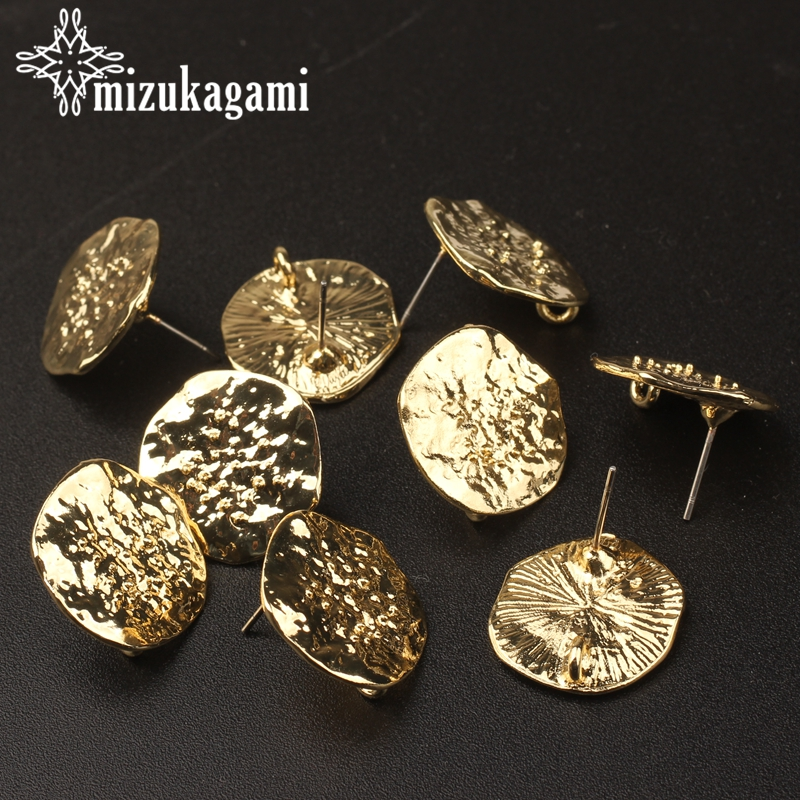 18MM 6pcs/lot Zinc Alloy Golden Ripple Round Flowers Base Earrings Connector For DIY Fashion Earrings Jewelry Accessories