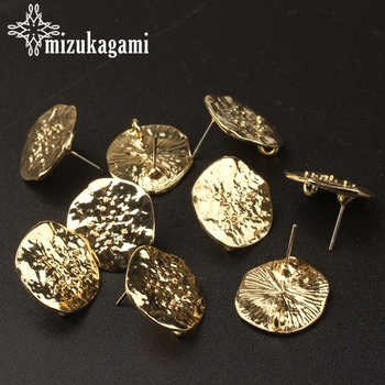 18MM 6pcs/lot Zinc Alloy Golden Ripple Round Flowers Base Earrings Connector For DIY Fashion Earrings Jewelry Accessories zinc alloy fashion golden round flowers base earrings connector charms 6pcs lot diy earrings jewelry making accessories