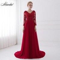 Evening Dress Appliques Lace New Design Party Dresses V Neck Straight Light Red Dress 2017