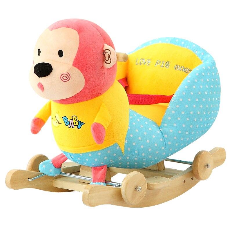 Kingtoy peluche bébé chaise à bascule enfants bois balançoire siège enfants en plein air balade sur poussette à bascule jouet
