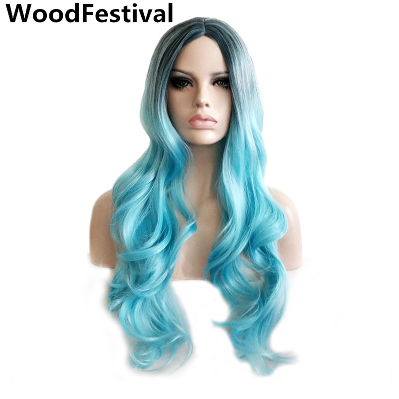 Ombre Blue Wig Brown Dark Root Wig Heat Resistant Synthetic Wave Wigs For Black Womens Long