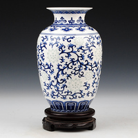 Jingdezhen ceramic classic blue and white glaze color for exquisite bone china vase home decoration crafts decoration