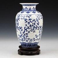 Jingdezhen ceramic classic blue and white glaze color for exquisite bone china vase home decoration crafts decoration