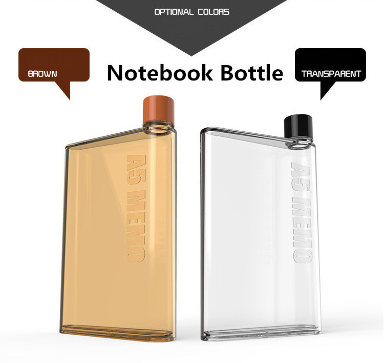 2pcs Food grade Silicone ABS Notebook Water Bottle Clear Brown Water Kettle for Hiking Travel Bicycle