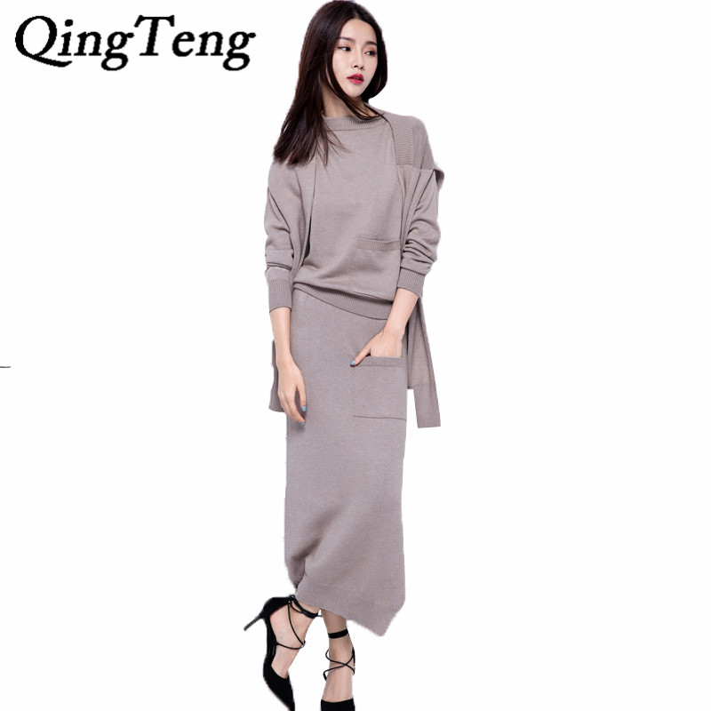 Women's Autumn Cashmere Blend Knitted O-Neck Sweater+Long Skirt+Fashion shawl/Set Female Casual Knitwear Pullover