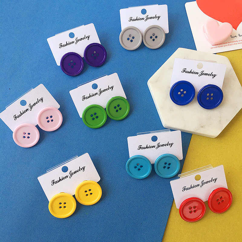 Fashion Harajuku Candy color button stud earrings For Women Round earrings fun funny Earrings retro female ear clips