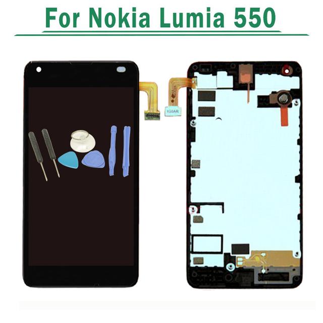 Para nokia para microsoft lumia 550 display lcd com touch tela Digitador Assembléia Com Frame Preto + Ferramentas Gratuitas grátis