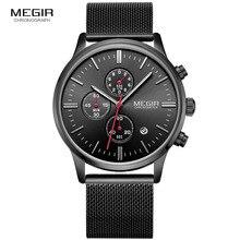 MEGIR relogio masculino hommes de quartz montres mode étanche maille bande montre pour homme lumineux heure pour mâle robe montre 2011