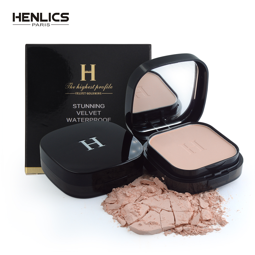 HENLICS Makeup Face Pressed Powder Foundation Super Waterproof Whitening Brighten Matte Powder Palette Contour Makeup Powder
