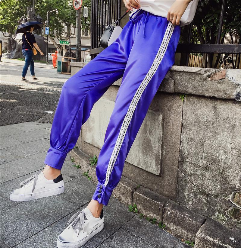 Hiphop purple sweatpants female hip hop Korean version of the tide student loose Dance pants 21