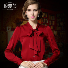 2017 autumn women's clothing fashion silk shirt women long-sleeve bow  silk shirt blouses top spring new arrival high quality
