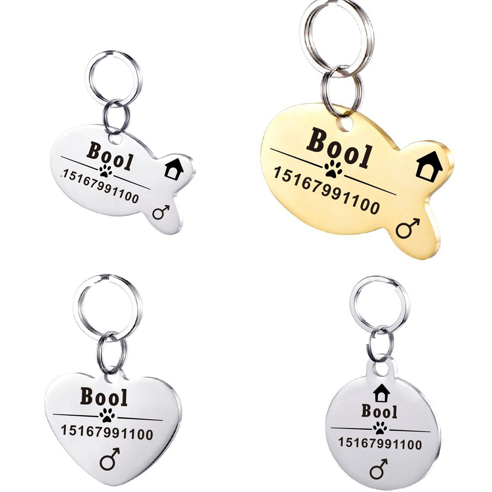Stainless Steel Dog Id Tag For Cats Collar Accessories Pets Id Tags Engraved Sex Telephone Name Tags And Can Choose Fonts