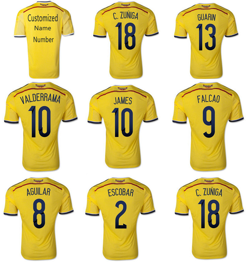 f54a630f965 9# Falcao 10# VALDERRAMA 10# James 2# ESCOBAR 3A+++Colombia 2014 Soccer  Jerseys Top 2014 Futbol Jerseys Soccer Thailand Shirt