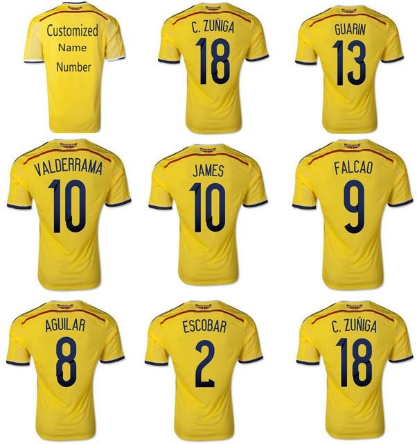 sale retailer 28723 c8015 US $19.93 |9# Falcao 10# VALDERRAMA 10# James 2# ESCOBAR 3A+++Colombia 2014  Soccer Jerseys Top 2014 Futbol Jerseys Soccer Thailand Shirt-in Soccer ...