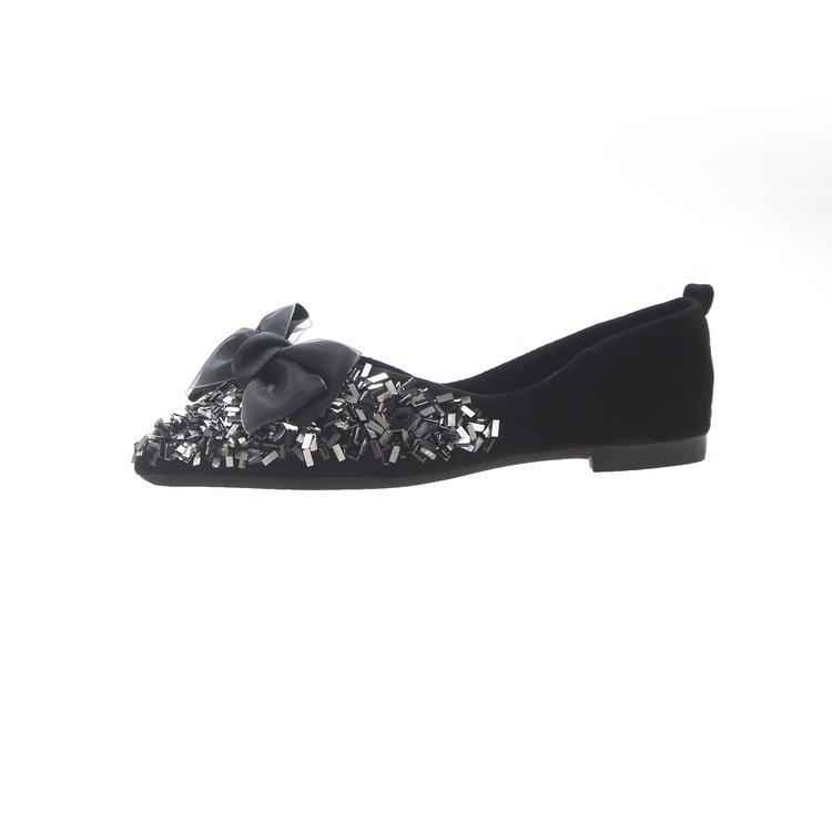 637e13befb9b1b Base Profonde 2019 Slip Femmes D'été De rose Appartements Chaussures Mode  Confortable Bout Noir Pointu vert Plates ...