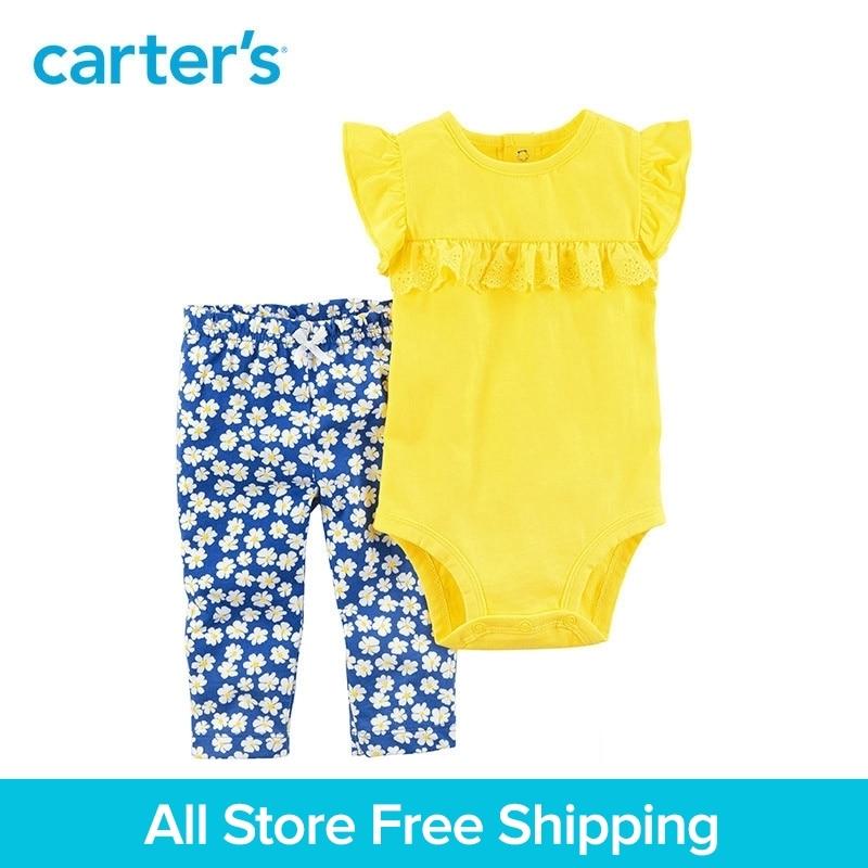 Carter's 2-Piece baby children kids clothing Girl Summer Lace ruffle detail Flutter sleeves Bodysuit Pant Set 121I098 knot detail striped bodysuit