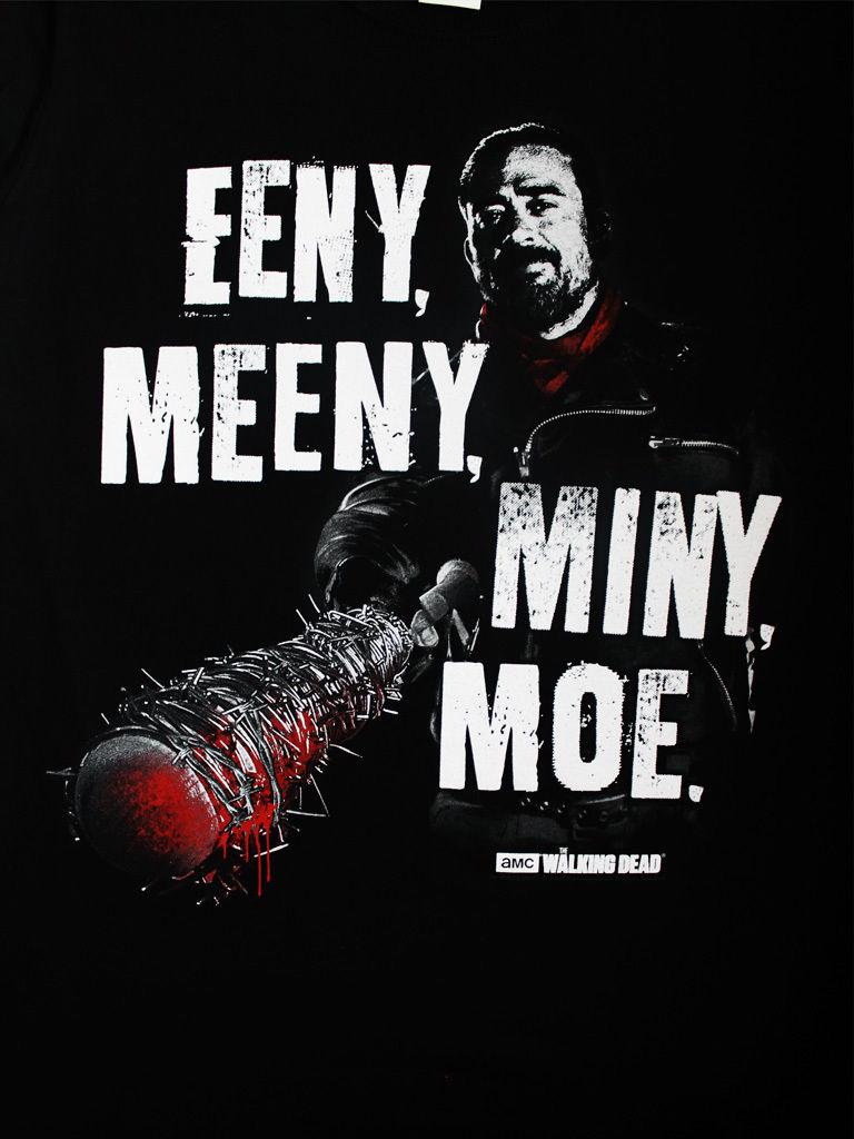 Walking Dead Negan Eeny Meeny Miny Moe Zombie Tv Official Black Mens
