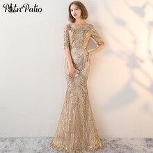 فساتين سهرة ذهبية أنيقة مطرزة للنساء 2019 جديد مثير بدون ظهر حورية البحر فستان سهرة بأكمام