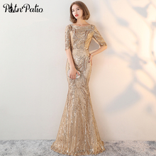 Elegant Sequined Golden Evening Dresses For Women 2019 New Sexy Backless Mermaid Evening Dress With Sleeves