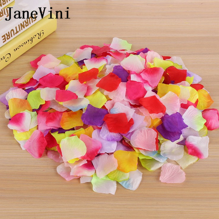 JaneVini 1000pcs Wedding Rose Petals Accessories Petalos De Seda Artificial Fabric Wedding Decoration Flower Rose Flower Petala