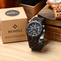 BEWELL 109D Luxury Brand Wood Watch Men Watches Luxury Brand Waterproof Watch Chronograph Analog Digital Quartz