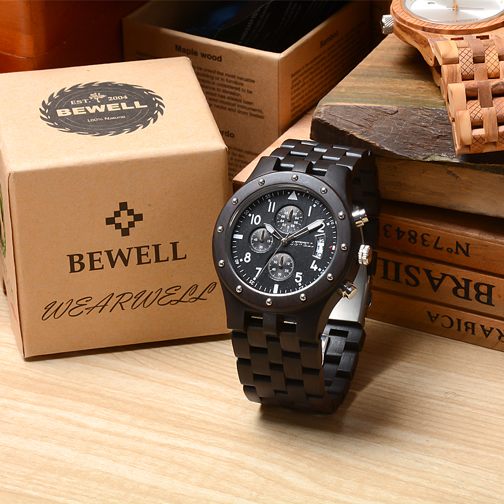 BEWELL 109D Luxury Brand Wood Watch Men Watches Luxury Brand Waterproof Watch Chronograph Analog Digital Quartz Wristwatches