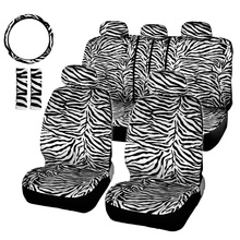 12pcs/Set Short Plush White Zebra Seat Covers Set Universal Fit Most Car Seats Steering Wheel Cover Shoulder Pad