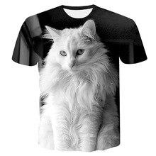 Off White Cat T-shirt Lady Boys 3D Lucky Cat Print T