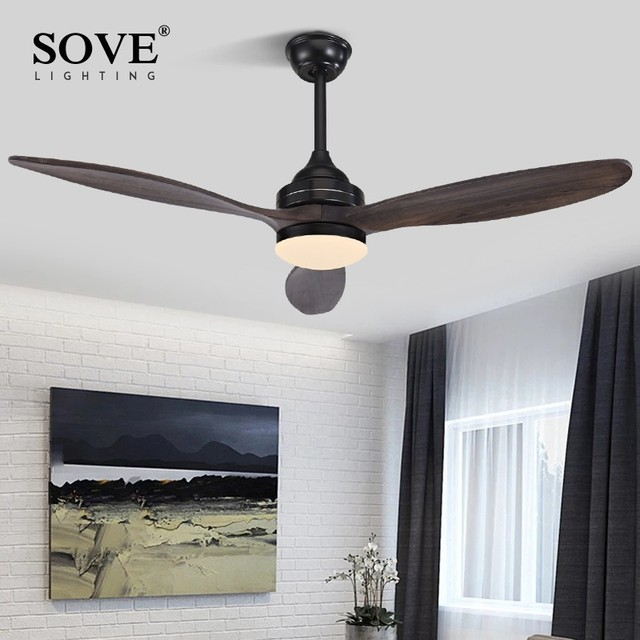 SOVE Black Vintage Wood Ceiling Fan Wooden Ceiling Fans With Lights Decorative Home Fan Lamp Retro Ceiling Fan Remote Control