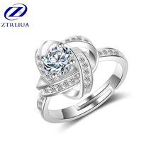 Женское кольцо с кристаллом из стерлингового серебра 925 пробы