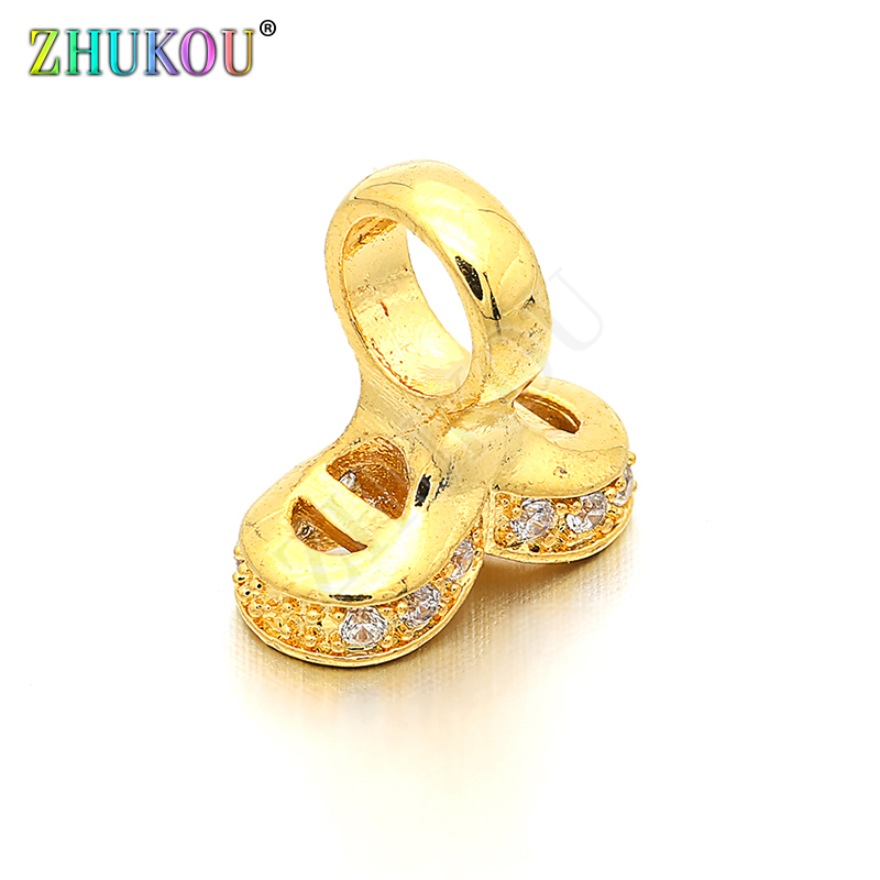 12*12mm High Quality Brass Cubic Zirconia Clasps Hooks Diy Jewelry Findings Making, Hole: 5mm, Model: VK1
