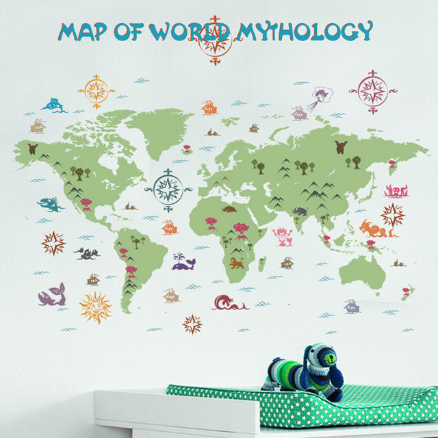 Wall Sticker World Map Retro Adventure Removable Cartoon Wall - Wall map children's room