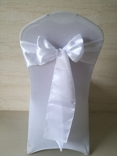 Free Shipping 100pcs White Satin Sash Chair Sashes Bow Knot For Wedding Party Hotel 15x275cm