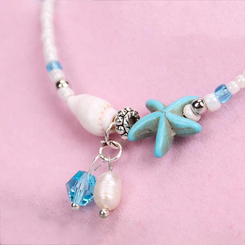 1PC ファッションボヘミアン模造真珠ヒトデチャームブレスレット女性ビーチジュエリーシェルジュエリーパーティーギフト