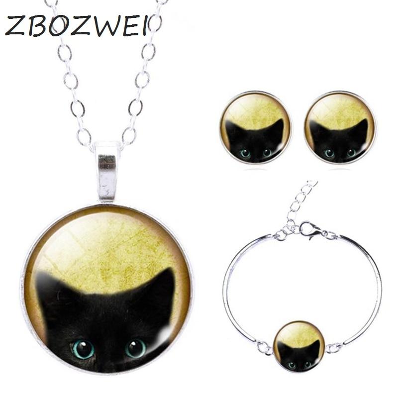 ZBOZWEI Glass Jewelry Sets Statement Pendant Necklace Stud Earrings Bangles Bracelets Black Cat Picture Silver Color
