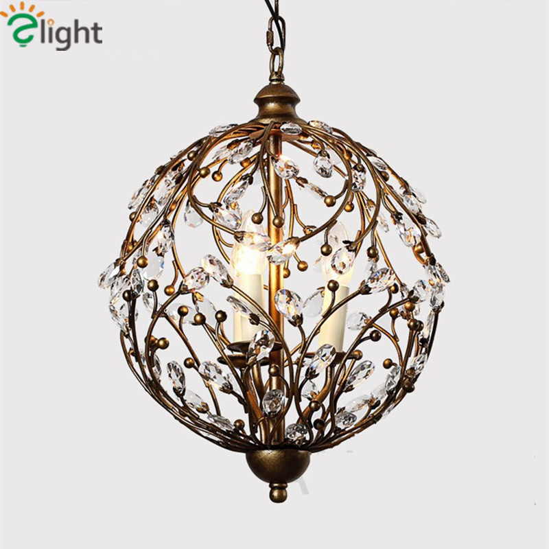 American Retro Re Crystal Led Chandeliers Luminaria Iron Branch Dining Room Chandelier Lighting Hanging Lights Fixtures