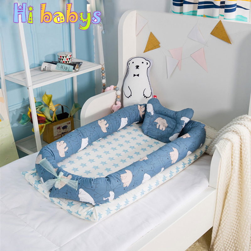 Baby Bed Portable Sleeping Cradle Newborn Crib Children Travel Bed with Bumper Mattress Foladable Infant Crib Kid Cotton Cradle luxury portable cradle newborn baby cradle multifunctional baby bed play bed with music toy can folding 2in1 crib cotton cot