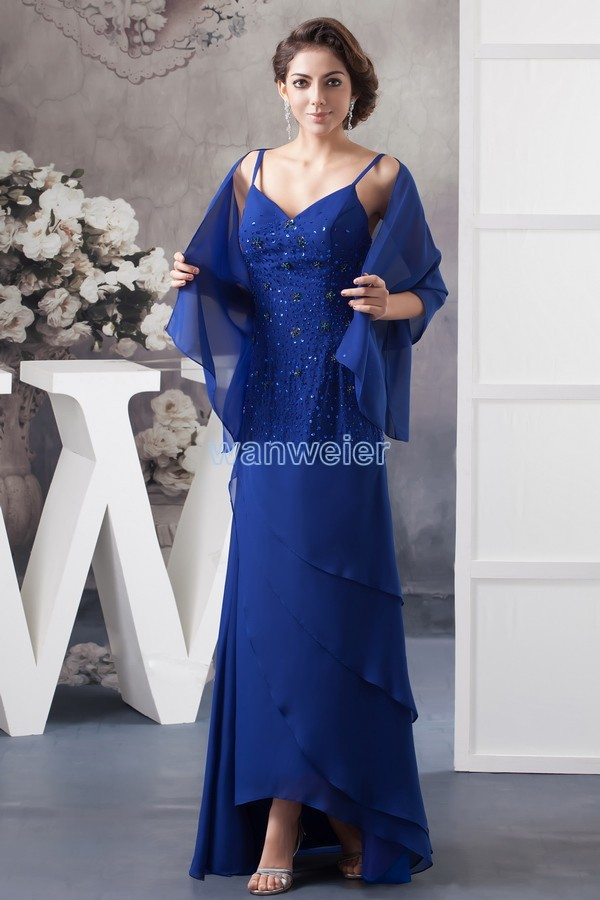 Free Shipping 2016 New Design Hot Sale Formal Gown V-neck Blue Custom Size/color Beading Chiffon Real Photo Long Cocktail Dress