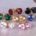ES032 Brinco News CZ Earing 8 Colors Bijoux Black Zircon Stud Earrings For Women Wedding Earings Girl Jewelry Pendientes