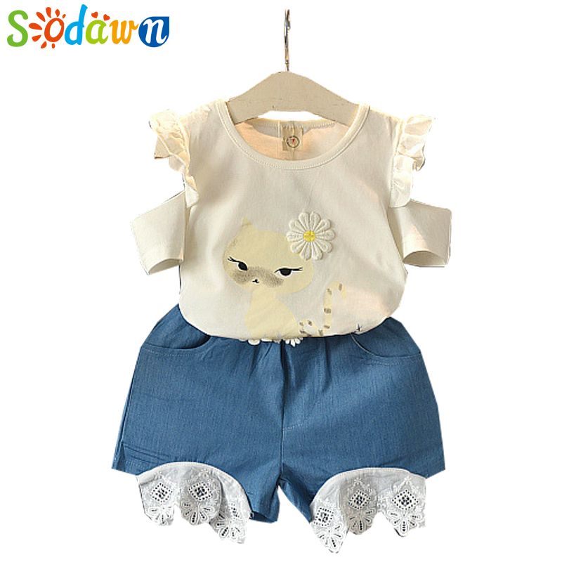 Sodawn Girls Clothes Fashion Set 2018 Summer New Children Clothing Strapless Short Sleeve+Shorts Flower Patch 2Pcs Kids Suit