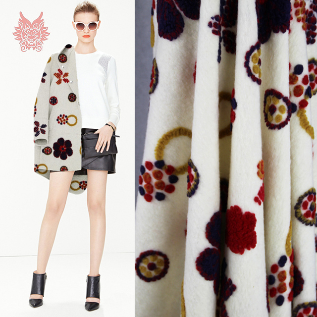 Designer American style 3D floral embroidery cream white cashmere ...