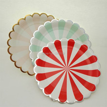 Striped Design Party Paper Plates Gold Silver Candy Food Salad Plates for Baby Shower Party Dinner Decor Pink Mint Red(7″&9″)